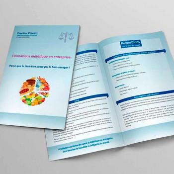 Création Plaquette Commerciale Emeline Vincent Nutritionniste diététicienne