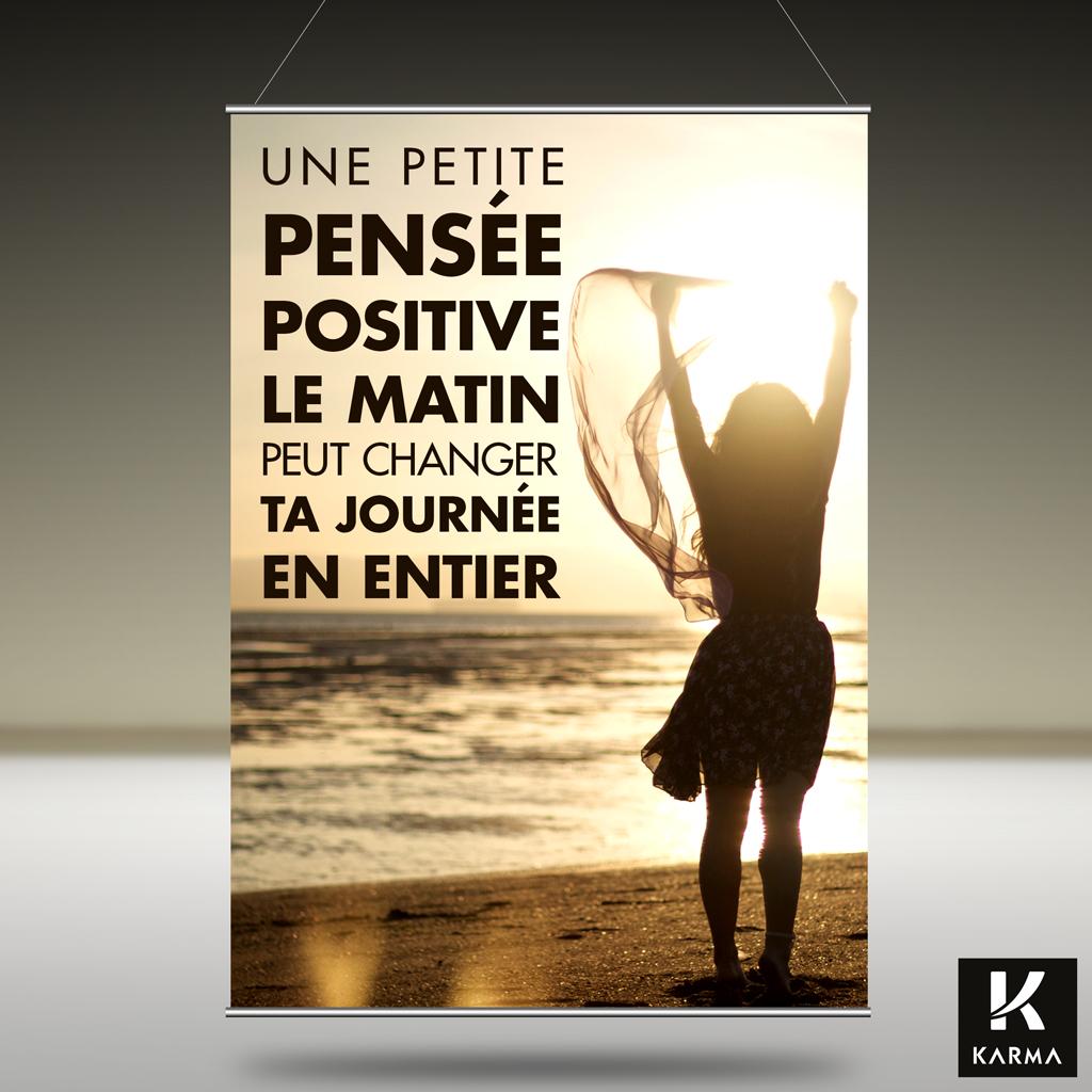 Poster citation Une Pensée positive le matin