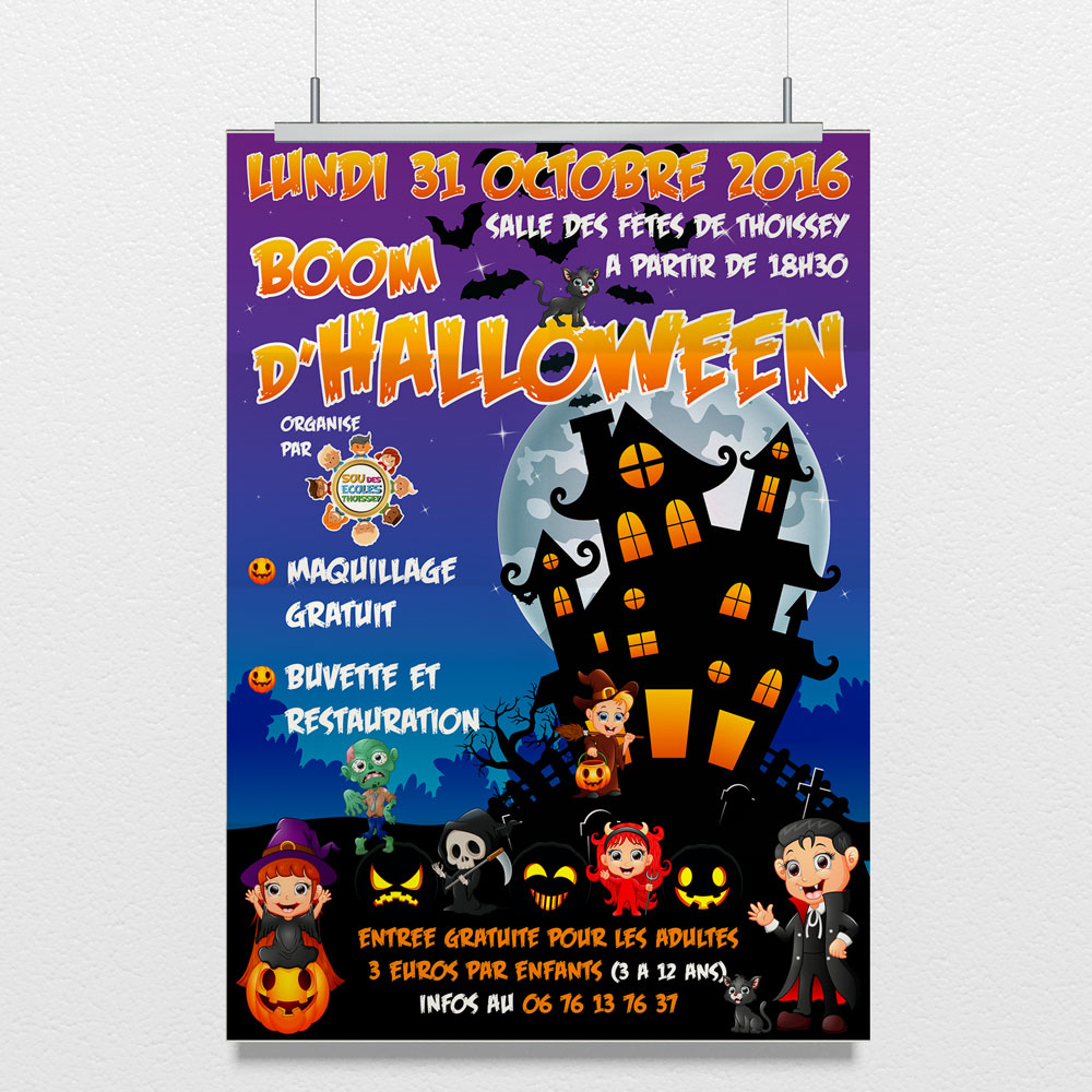 Creation Poster soiree halloween sou des écoles thoissey - Studio Karma - graphiste