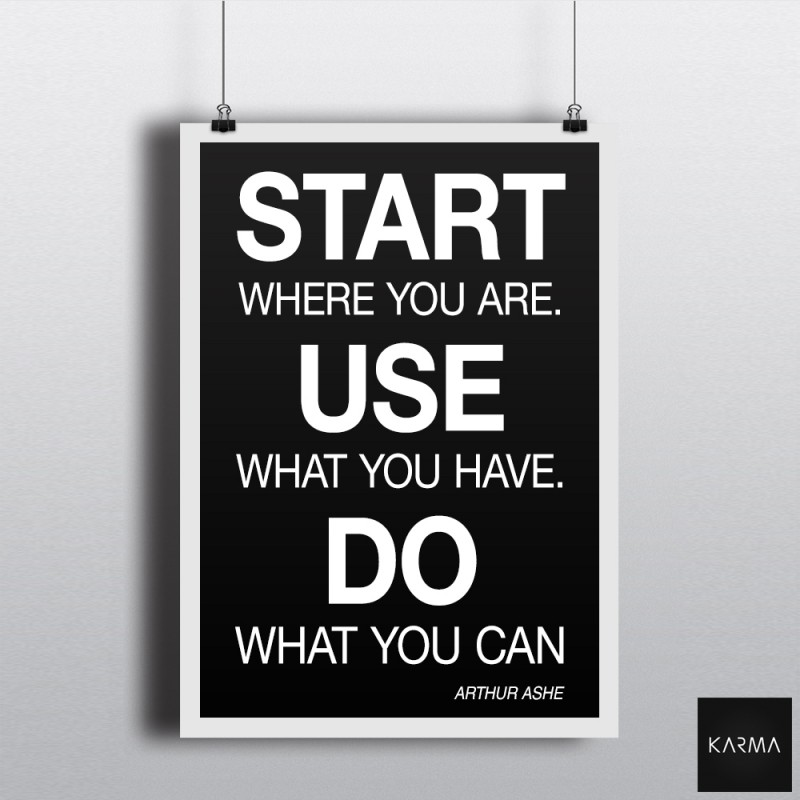 Studio Karma - Poster Arthur Ashe Quote Start Use Do