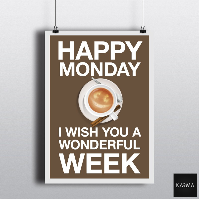 Poster Happy Monday Wonderful Week by Studio Karma - Graphiste Freelance