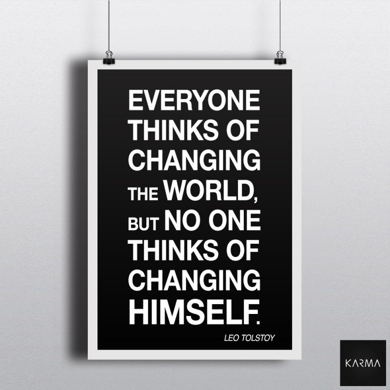Studio Karma - Poster Leo Tolstoy Quote Changing the World
