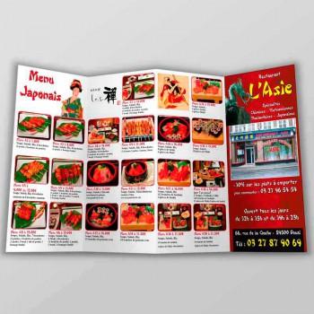 Création Dépliant 4 Volets - Menu Restaurant Asiatique - Création de Flyer et Dépliant
