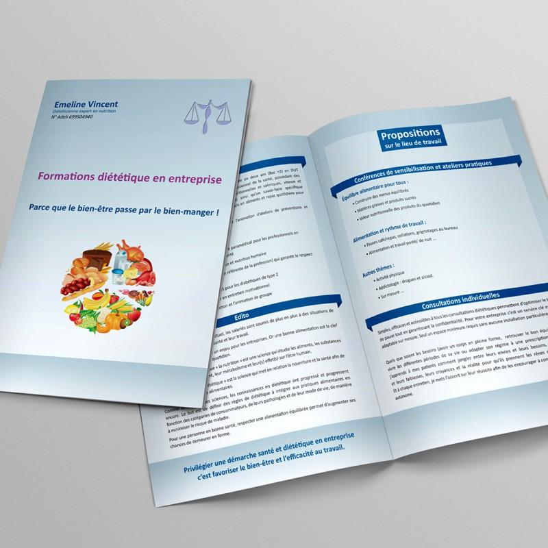 Plaquette Commerciale pour Emeline Vincent Diététicienne Expert en Nutrition