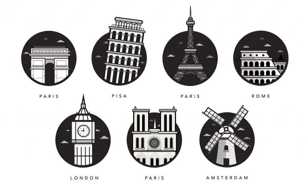 Famous Landmarks - illustrations de monuments célèbres européens par Al Power - Article inspiration Illustration - Studio Karma - Graphiste Freelance