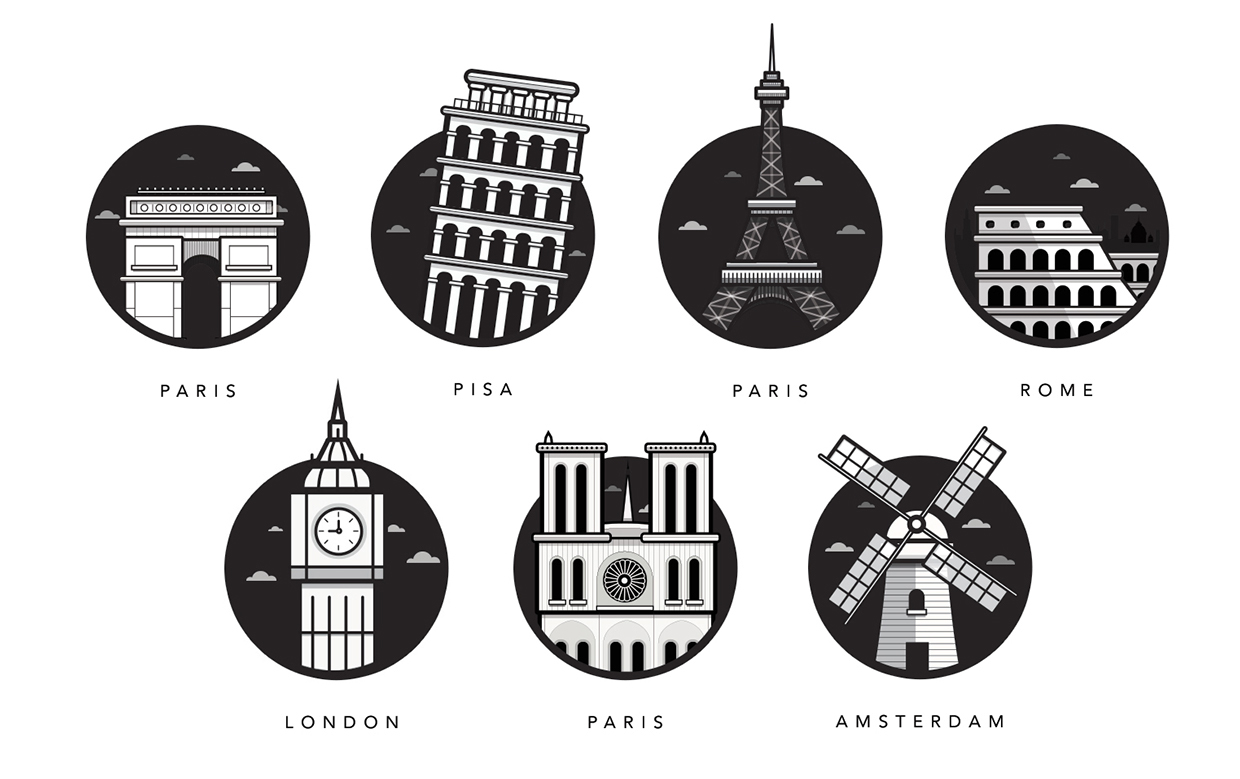 Famous Landmarks - illustrations de monuments célèbres européens par Al Power - Article inspiration Illustration - Studio Karma - Graphiste Freelance