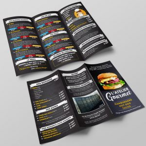 Creation Depliant 3 Volets Atelier du Gourmet - Hamburger Tacos HotDog Seclin 59 - Exterieur
