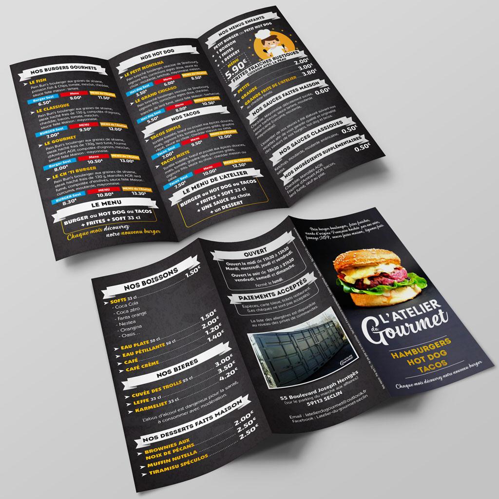 Création Dépliant l'Atelier du Gourmet - Creation Depliant 3 Volets Atelier du Gourmet - Hamburger Tacos HotDog Seclin 59 - Exterieur