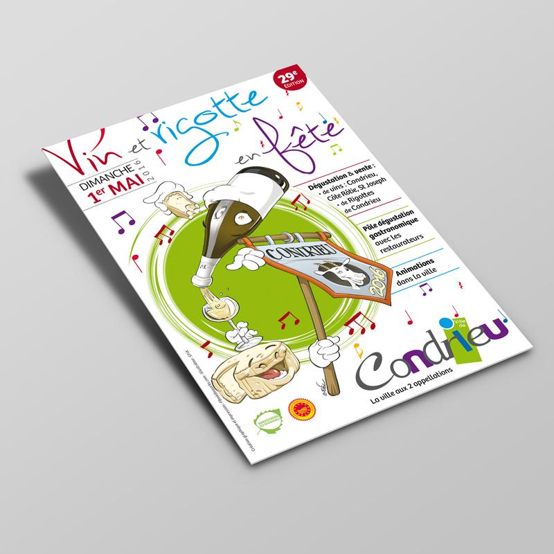 Création Flyer A5 Mairie de Condrieu Vin et Rigotte 2016