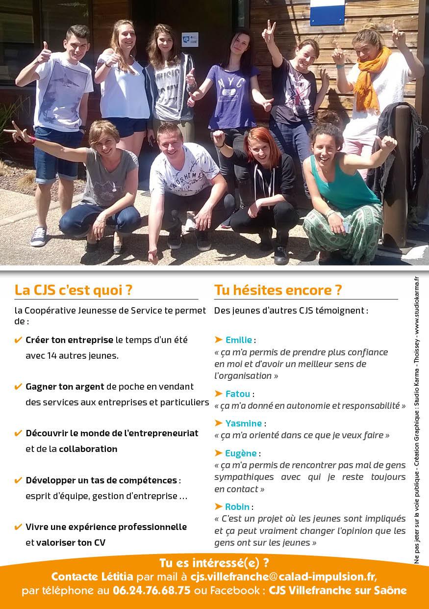 Présentation Création Flyer CJS Calad Impulsion Verso - Studio Karma - Graphiste