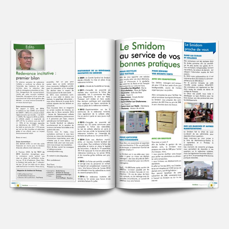 Creation Magazine Smidom Thoissey Page Interieur 2 3 - Studio Karma - Graphiste