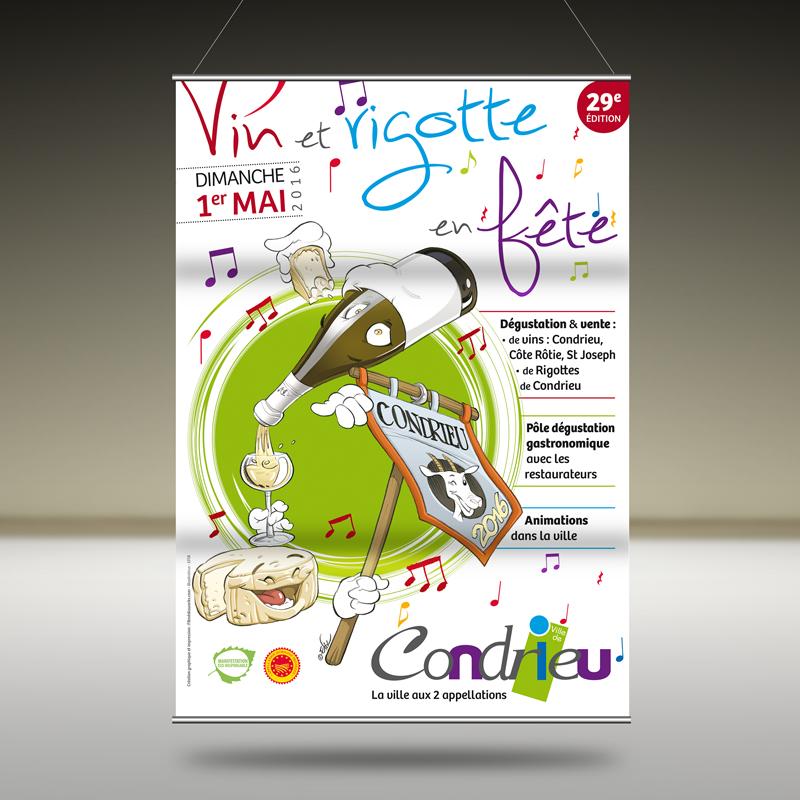 Création Affiche Mairie de Condrieu Vin et Rigotte 2016