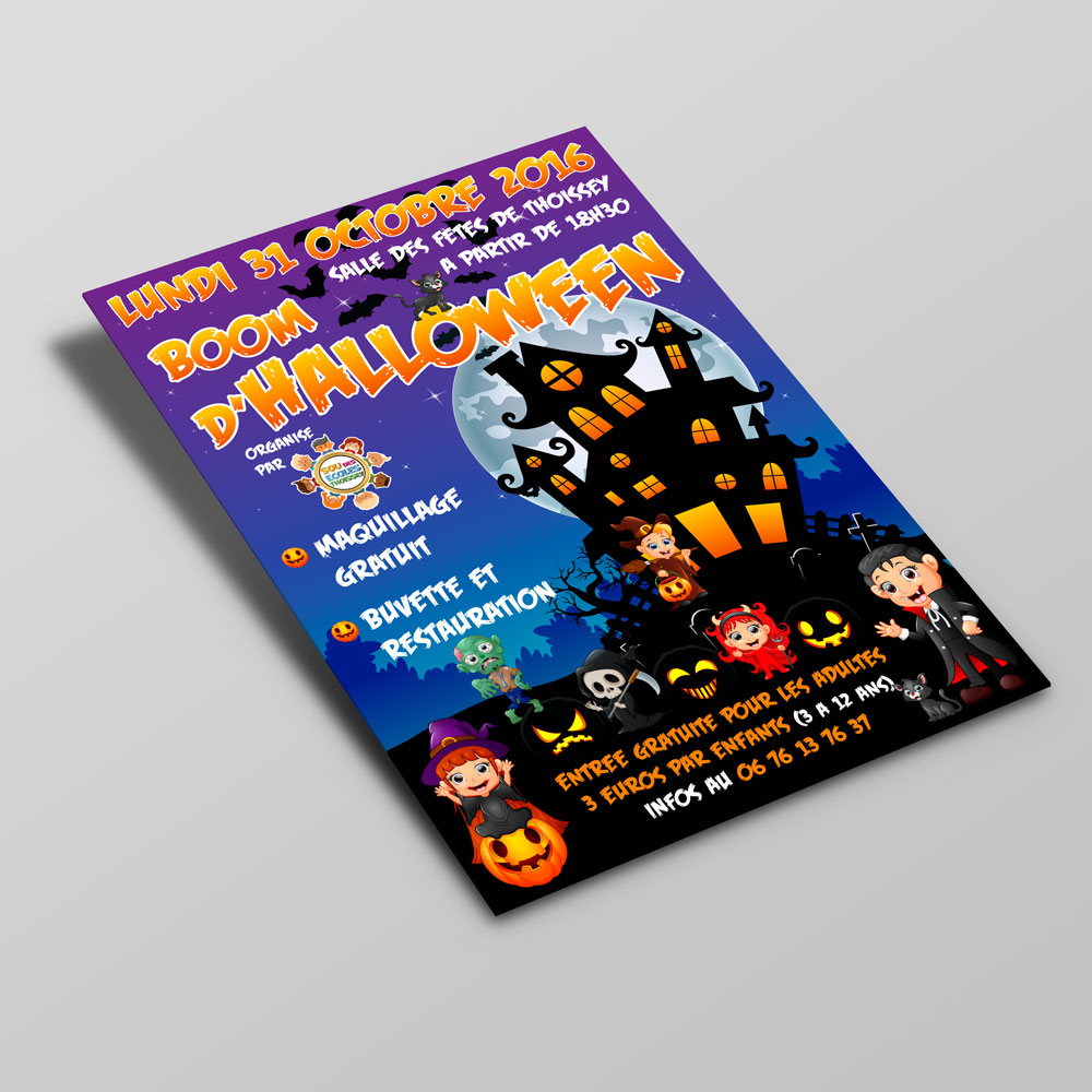 Creation flyer soiree halloween sou des écoles thoissey - Studio Karma - graphiste
