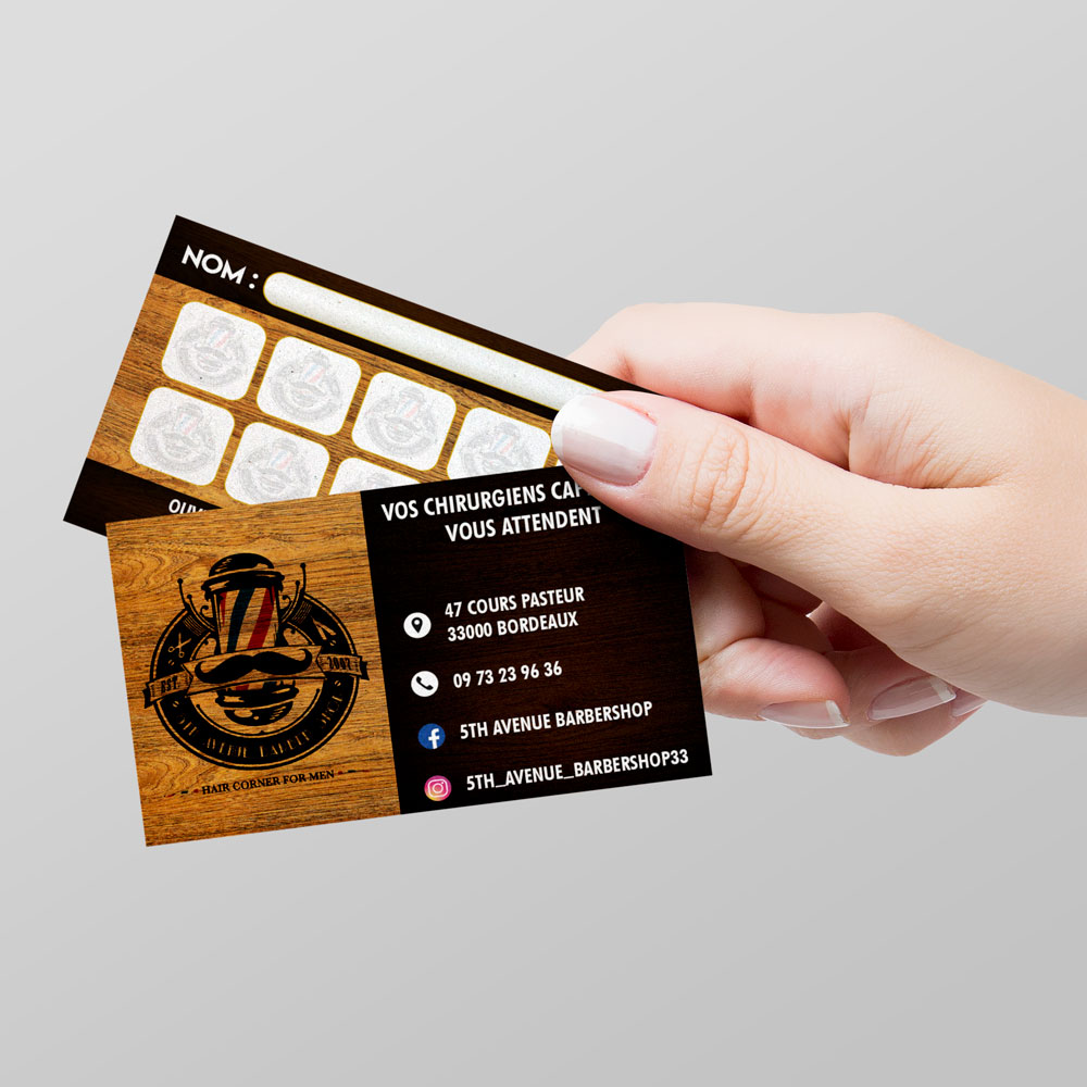 5th Avenue Barber Shop Loyalty Cards Design - Bordeaux - Coiffeur - Studio Karma - Freelance Graphic Designer - Rhone Alpes