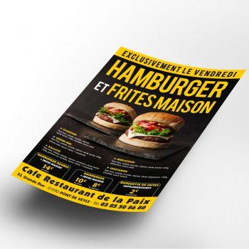 Creation-Flyer-Hamburger-Cafe-restaurant-de-la-paix-Pont-de-Veyle-Karma-Graphiste-independant