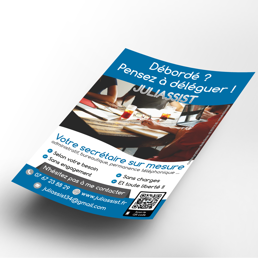 Creation Flyer Juliassist - Secretaire independante - 95 - Val -d Oise - ile de France - Karma - Graphiste independant