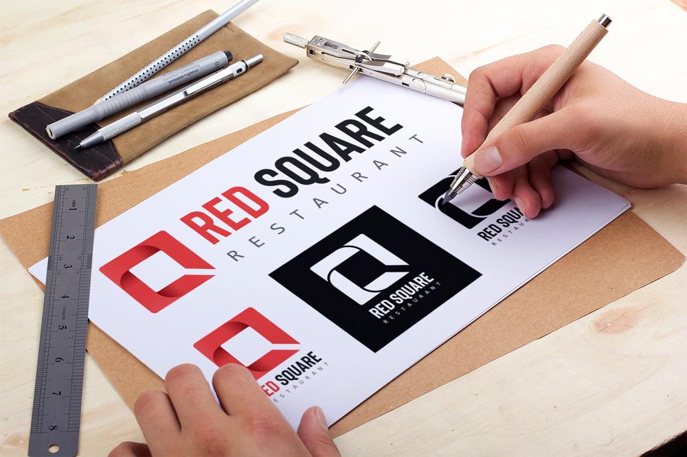 Presentation Logo Design Restaurant Red Square - Studio Karma - Graphic Designer - France