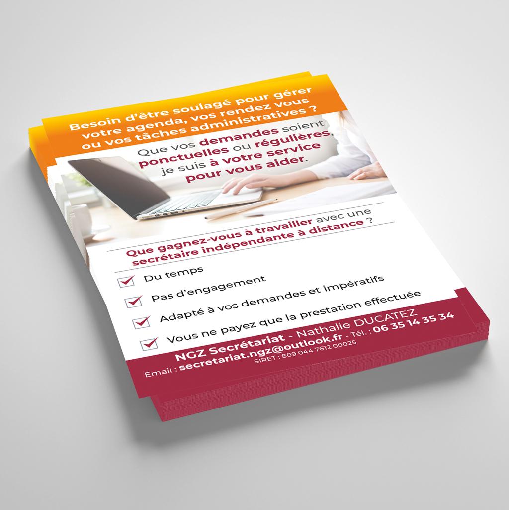 creation Flyer secretaire indépendante - NGZ secretariat - 60 - Oise - Bretigny 1