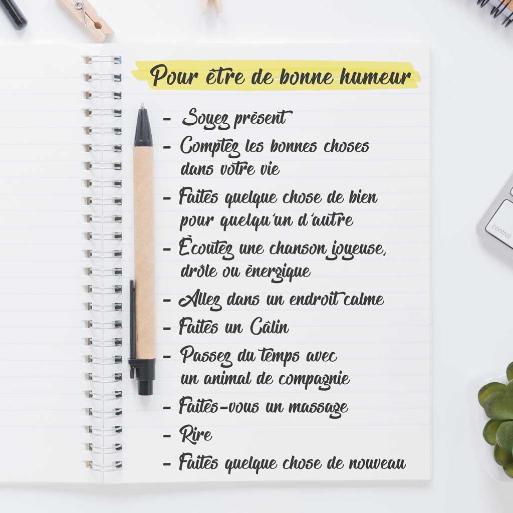 To do List Heureux etre de Bonne Humeur A faire aujourdhui 5 minutes Studio Karma